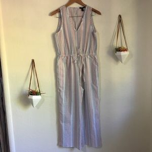NWT Anthropologie | Drew pink striped jumpsuit